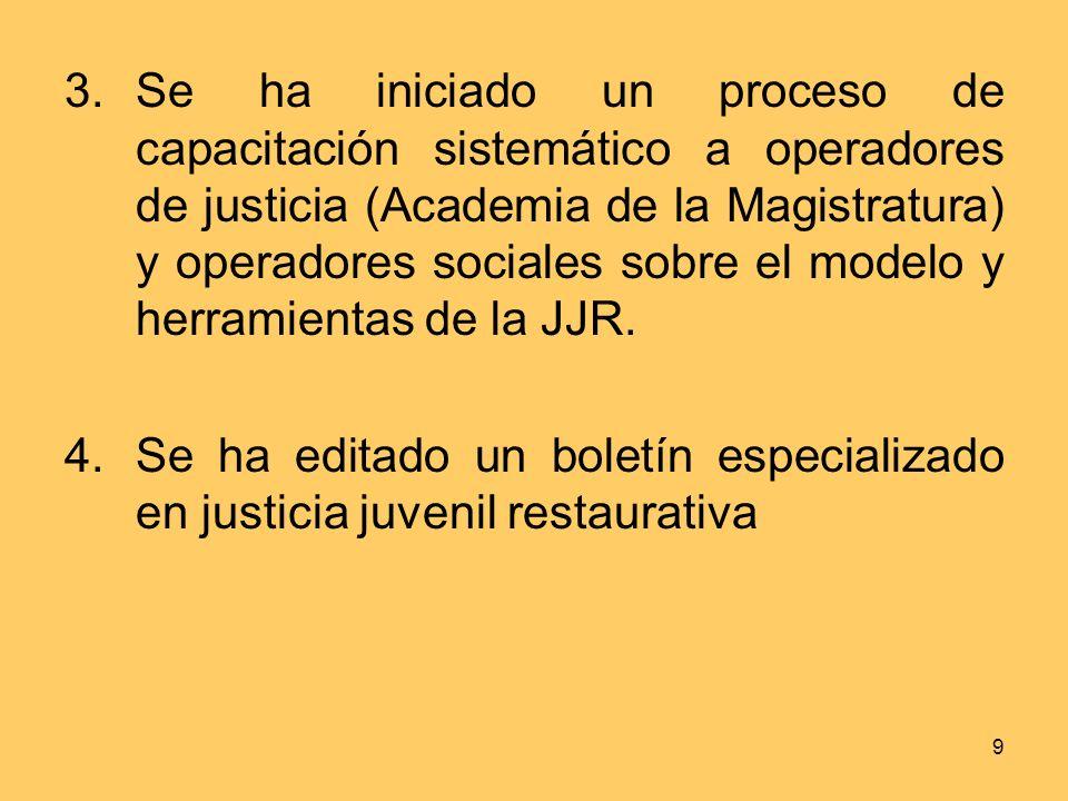 Se ha iniciado un proceso de capacitación sistemático a operadores de justicia (Academia de la Magistratura) y operadores sociales sobre el modelo y herramientas de la JJR.