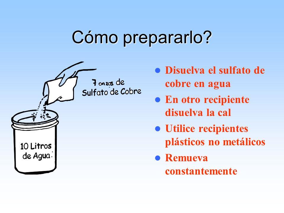 Cómo prepararlo Disuelva el sulfato de cobre en agua