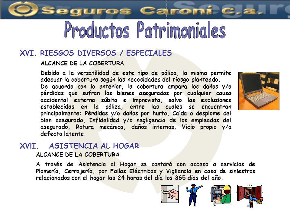 Productos Patrimoniales XVI. RIESGOS DIVERSOS / ESPECIALES
