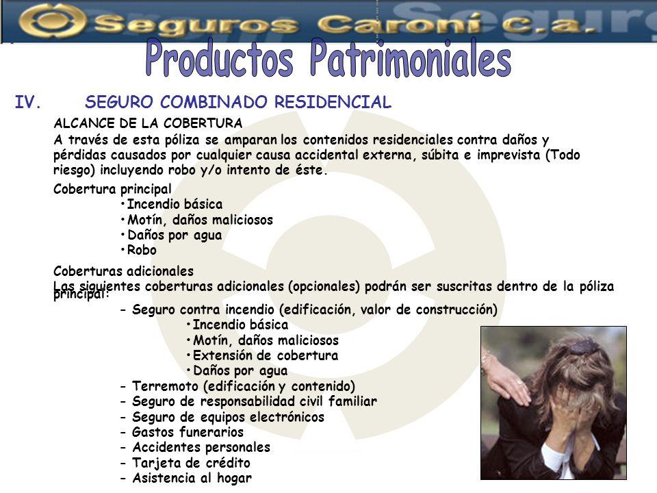 Productos Patrimoniales IV. SEGURO COMBINADO RESIDENCIAL
