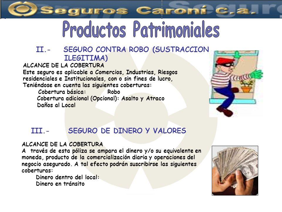 Productos Patrimoniales III.- SEGURO DE DINERO Y VALORES