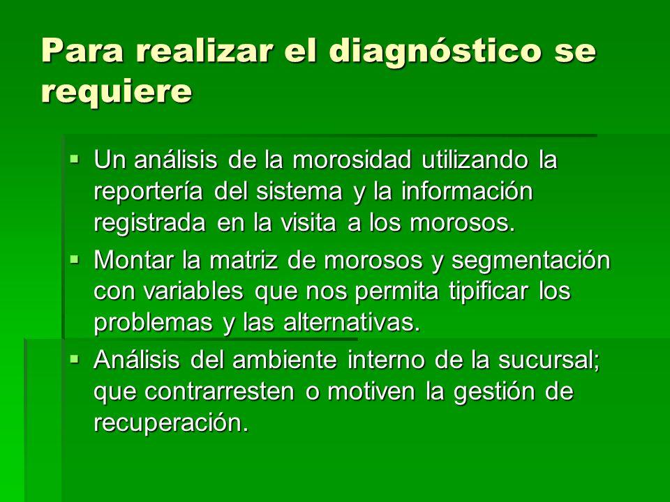 Para realizar el diagnóstico se requiere