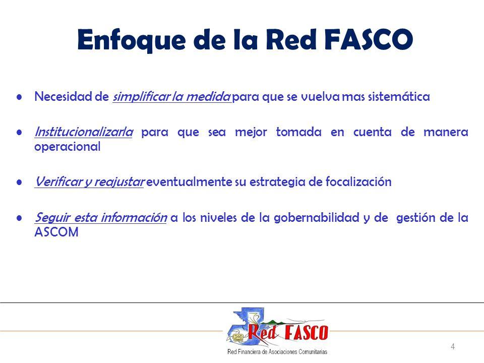 Enfoque de la Red FASCO Necesidad de simplificar la medida para que se vuelva mas sistemática.