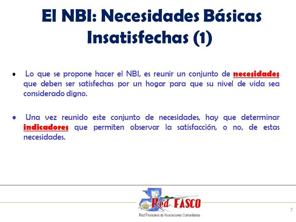 El NBI: Necesidades Básicas Insatisfechas (1)