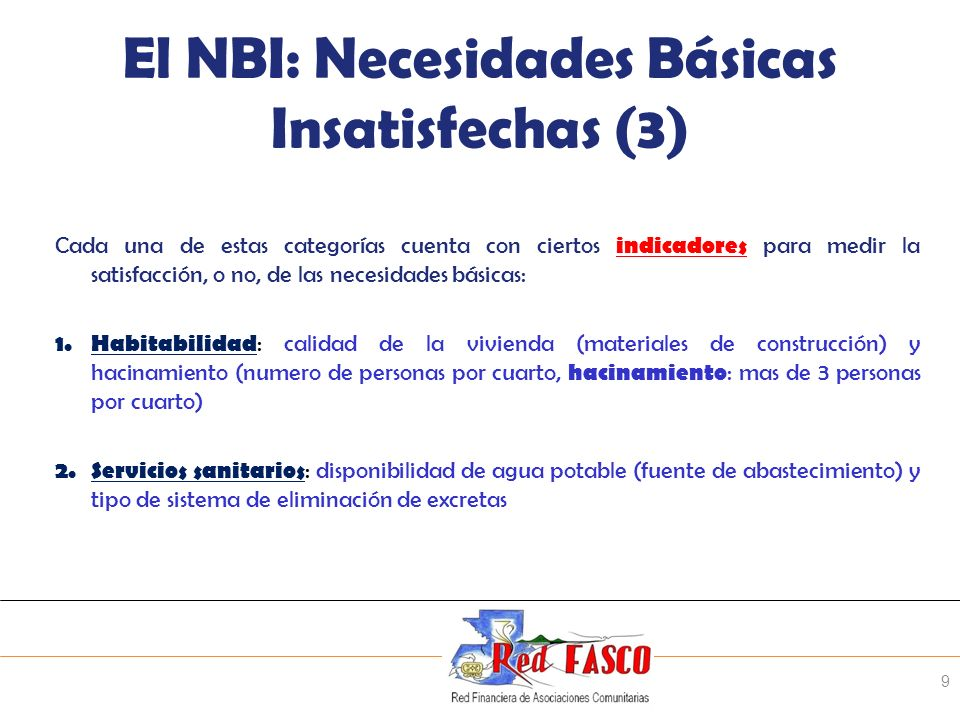 El NBI: Necesidades Básicas Insatisfechas (3)