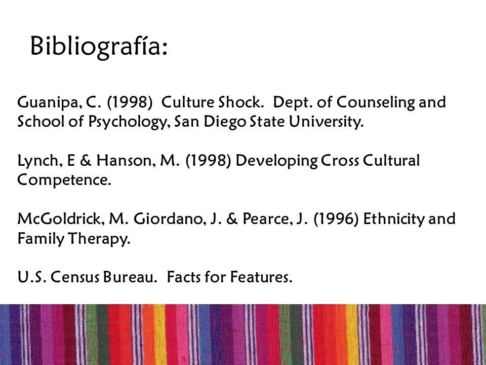 Bibliografía:Guanipa, C. (1998) Culture Shock. Dept. of Counseling and School of Psychology, San Diego State University.