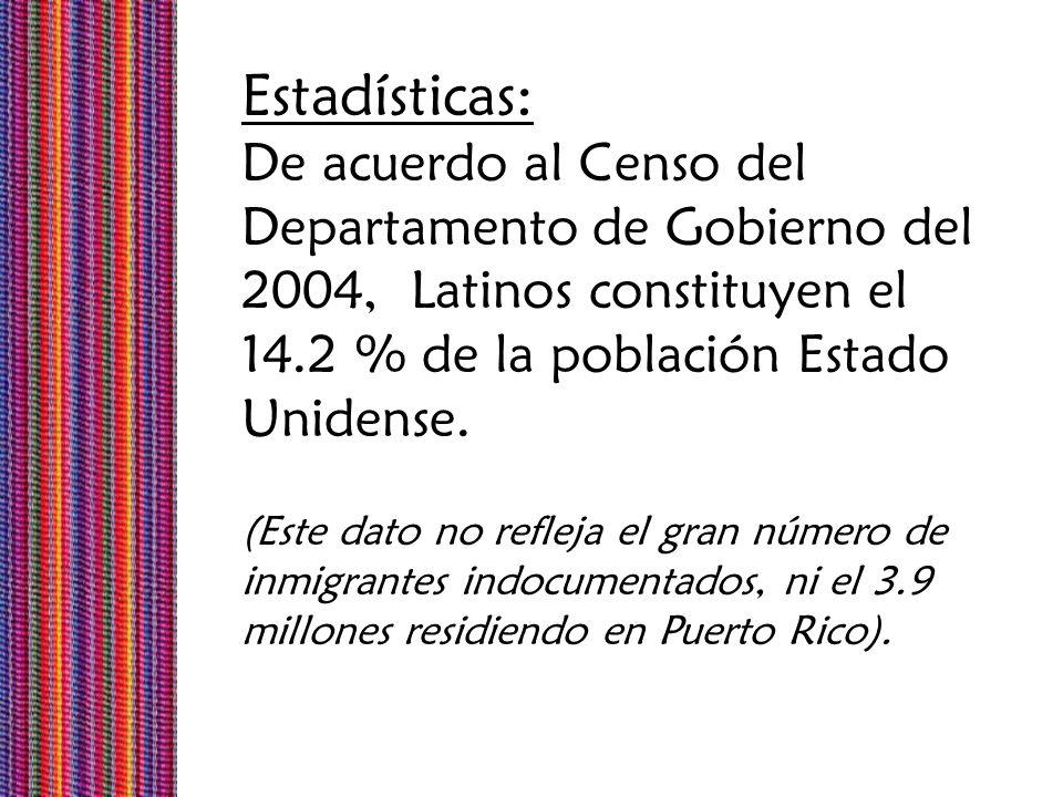 Estadísticas: De acuerdo al Censo del Departamento de Gobierno del 2004, Latinos constituyen el. 14.2 % de la población Estado Unidense.