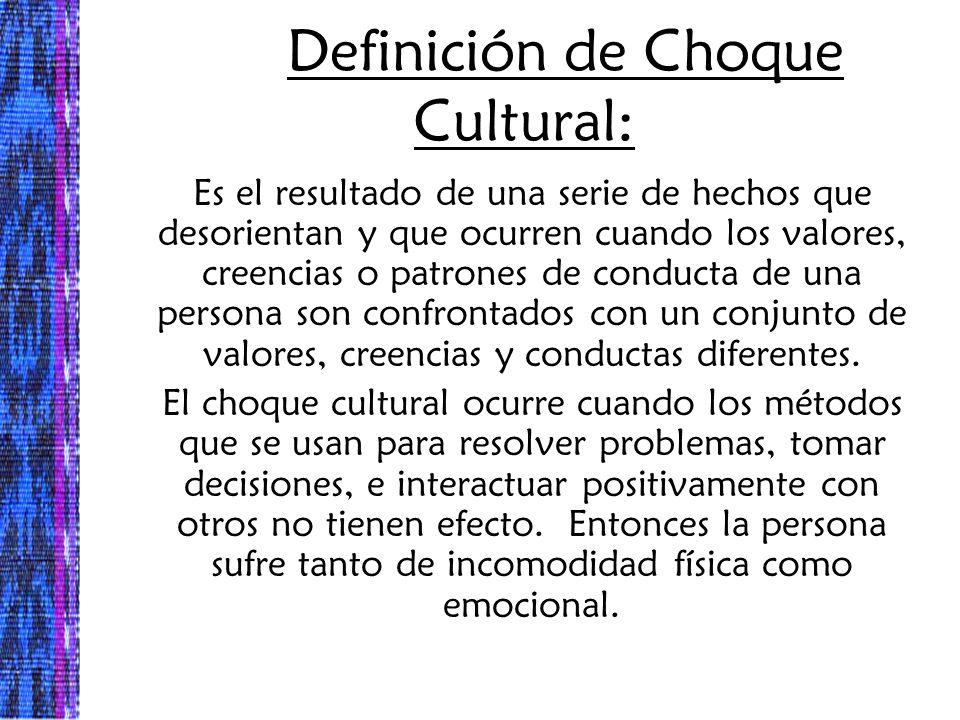 Definición de Choque Cultural: