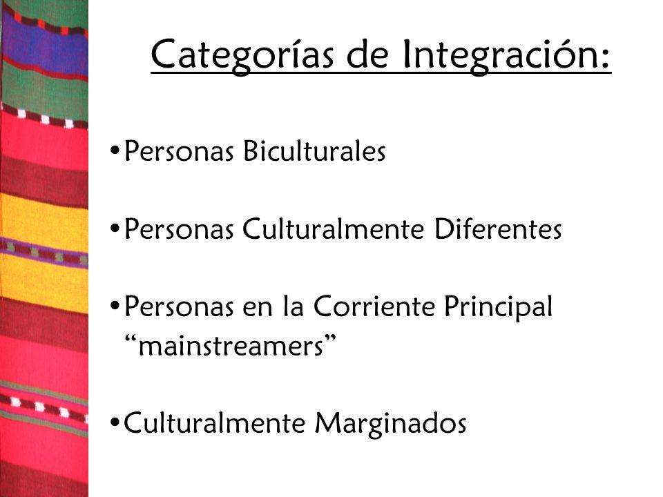 Categorías de Integración:
