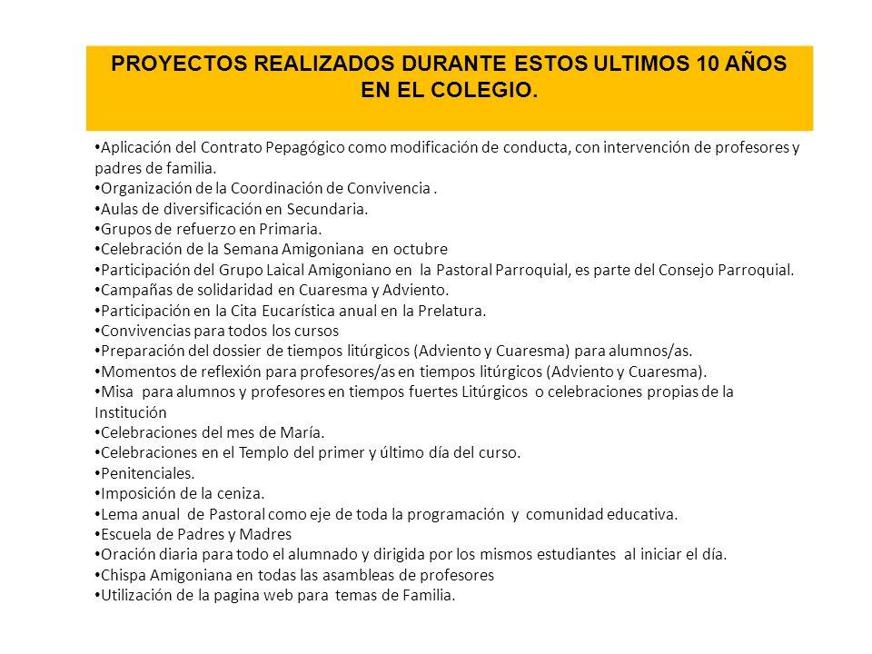 PROYECTOS REALIZADOS DURANTE ESTOS ULTIMOS 10 AÑOS EN EL COLEGIO.