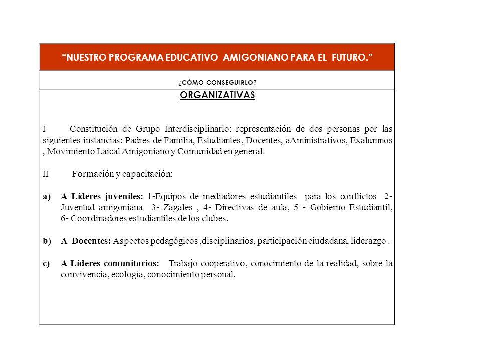NUESTRO PROGRAMA EDUCATIVO AMIGONIANO PARA EL FUTURO.
