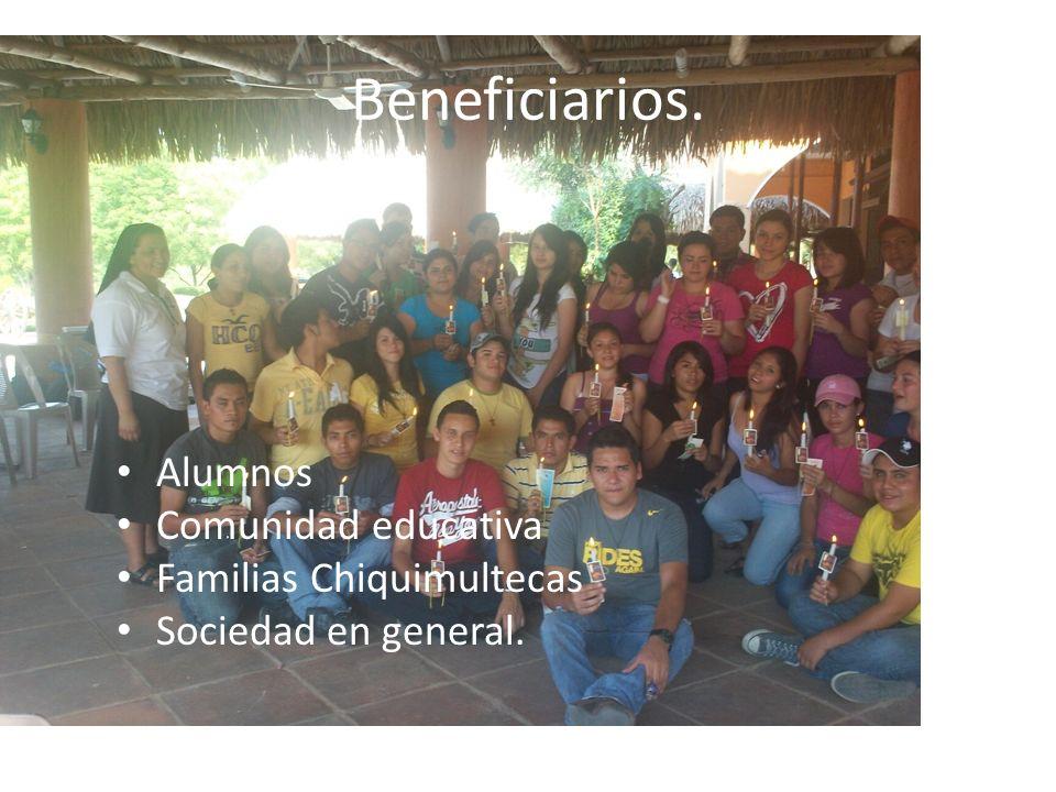 Beneficiarios. Alumnos Comunidad educativa Familias Chiquimultecas