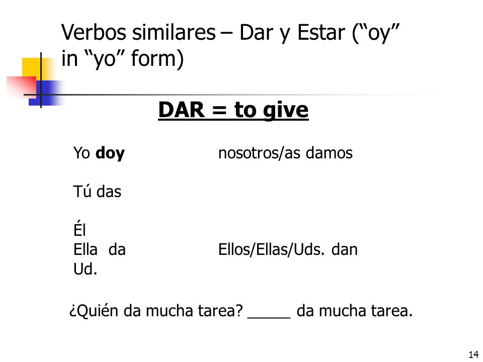Verbos similares – Dar y Estar ( oy in yo form)