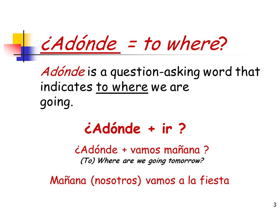 ¿Adónde = to where ¿Adónde + ir