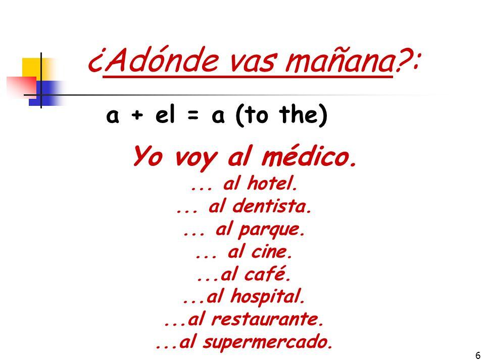 ¿Adónde vas mañana : Yo voy al médico. a + el = a (to the)