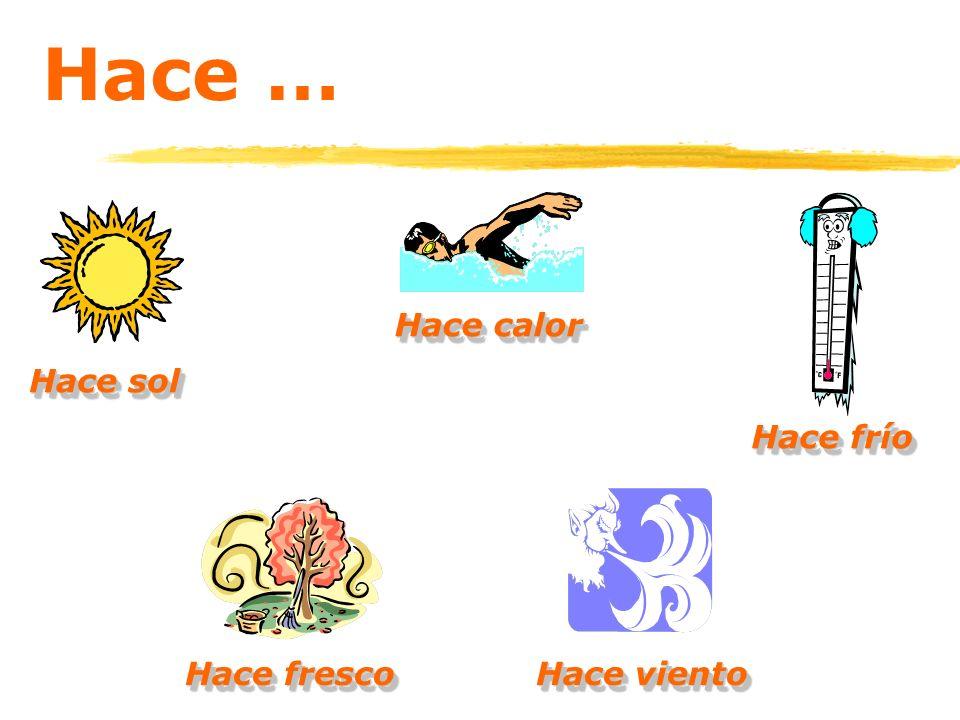 Hace … Hace calor Hace sol Hace frío Hace fresco Hace viento