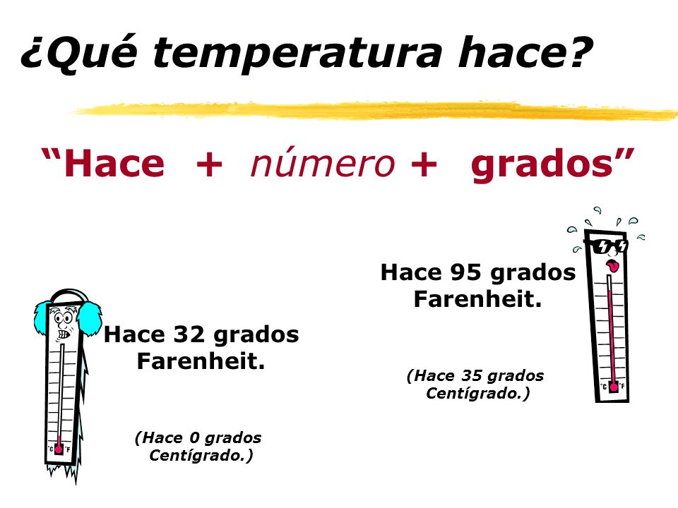 ¿Qué temperatura hace Hace + número grados Hace 95 grados