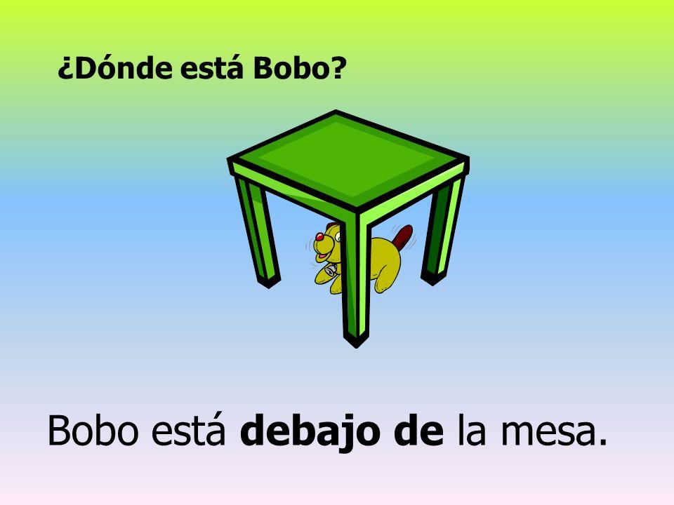 Bobo está debajo de la mesa.