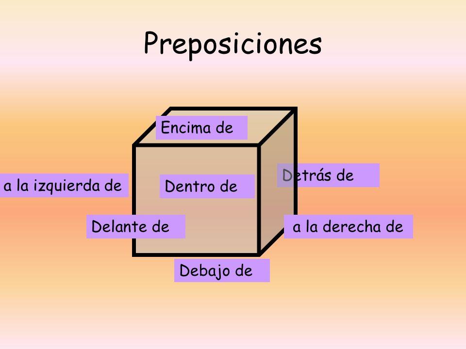 Preposiciones Encima de Detrás de a la izquierda de Dentro de