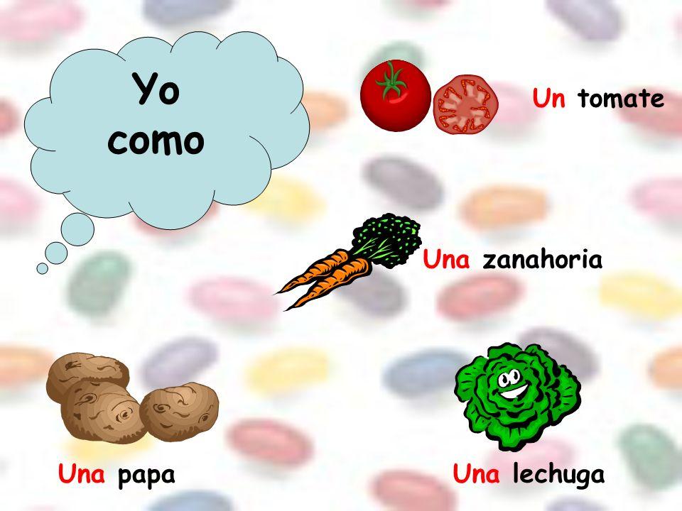 Yo como Un tomate Una zanahoria Una papa Una lechuga