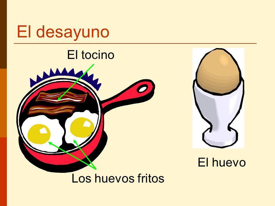 El desayuno El tocino El huevo Los huevos fritos