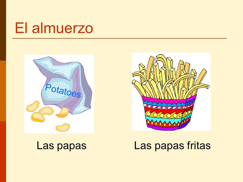 El almuerzo Potatoes Las papas Las papas fritas