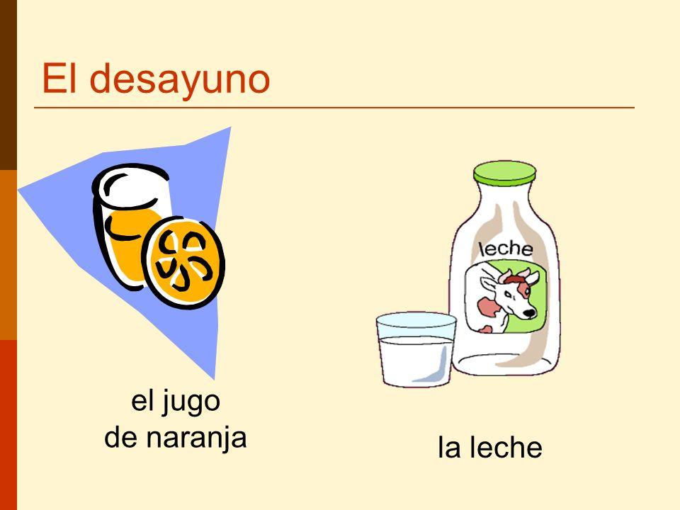 El desayuno La leche el jugo de naranja la leche