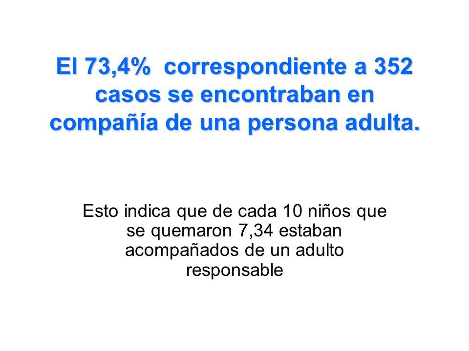 El 73,4% correspondiente a 352 casos se encontraban en compañía de una persona adulta.