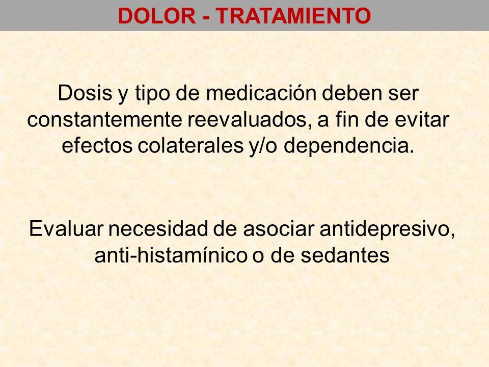 DOLOR - TRATAMIENTO Dosis y tipo de medicación deben ser constantemente reevaluados, a fin de evitar efectos colaterales y/o dependencia.
