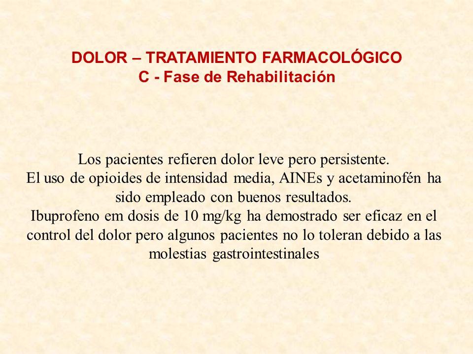DOLOR – TRATAMIENTO FARMACOLÓGICO C - Fase de Rehabilitación