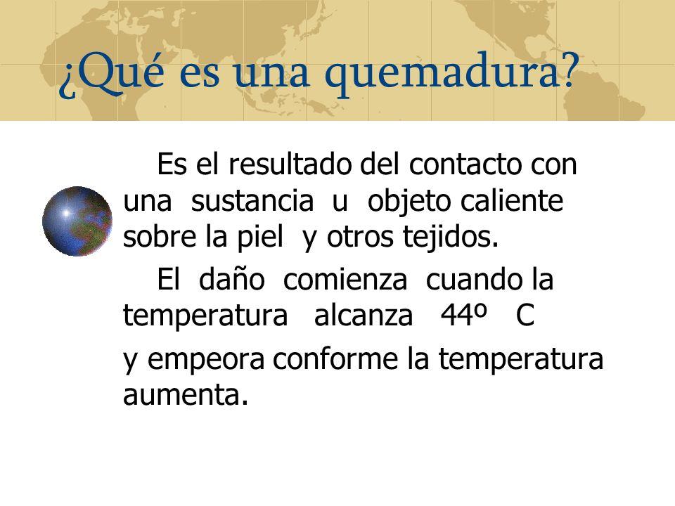¿Qué es una quemadura Es el resultado del contacto con una sustancia u objeto caliente sobre la piel y otros tejidos.