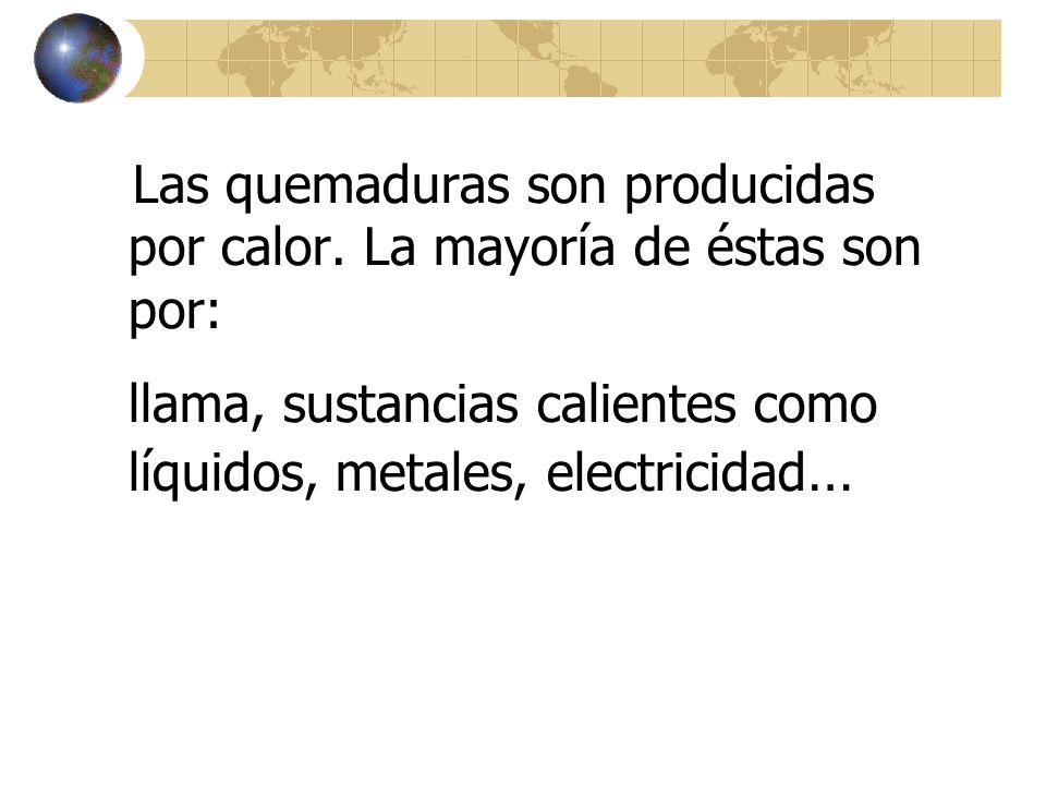 llama, sustancias calientes como líquidos, metales, electricidad…