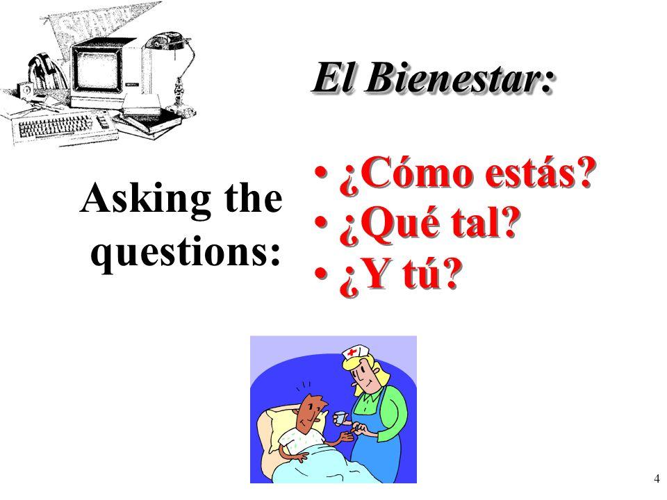 El Bienestar: Asking the questions: ¿Cómo estás ¿Qué tal ¿Y tú