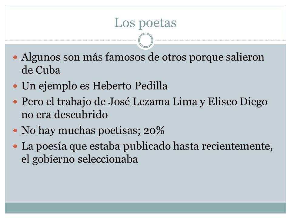 Los poetas Algunos son más famosos de otros porque salieron de Cuba
