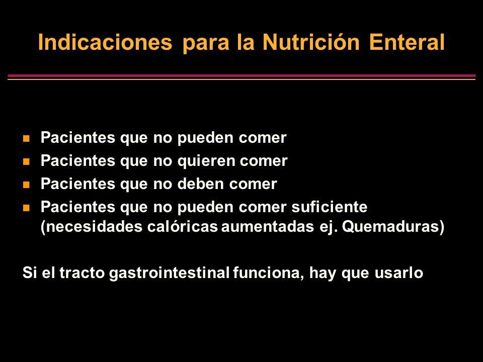 Indicaciones para la Nutrición Enteral