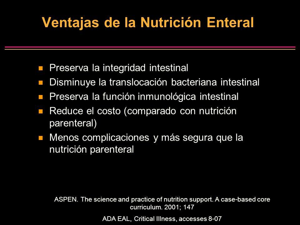 Ventajas de la Nutrición Enteral