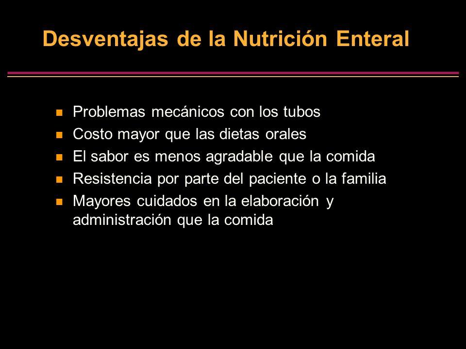 Desventajas de la Nutrición Enteral