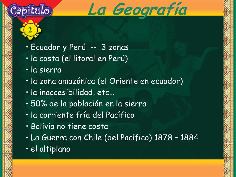 La Geografía Ecuador y Perú -- 3 zonas la costa (el litoral en Perú)