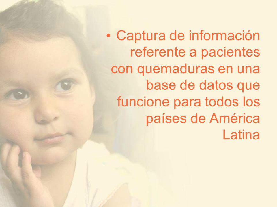 Captura de información referente a pacientes con quemaduras en una base de datos que funcione para todos los países de América Latina