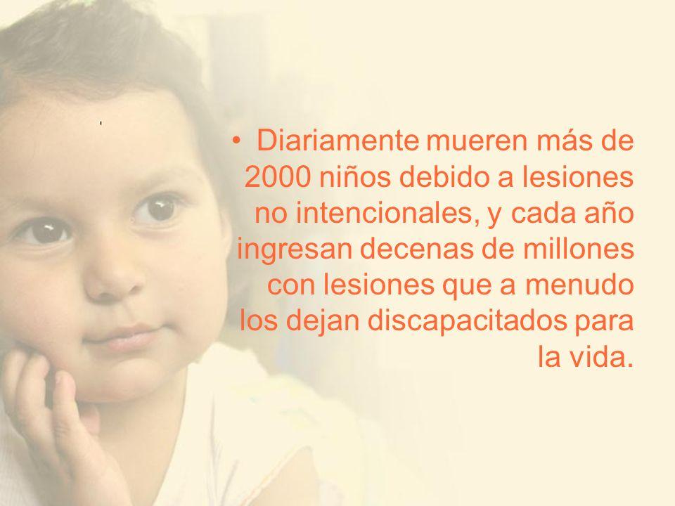 Diariamente mueren más de 2000 niños debido a lesiones no intencionales, y cada año ingresan decenas de millones con lesiones que a menudo los dejan discapacitados para la vida.