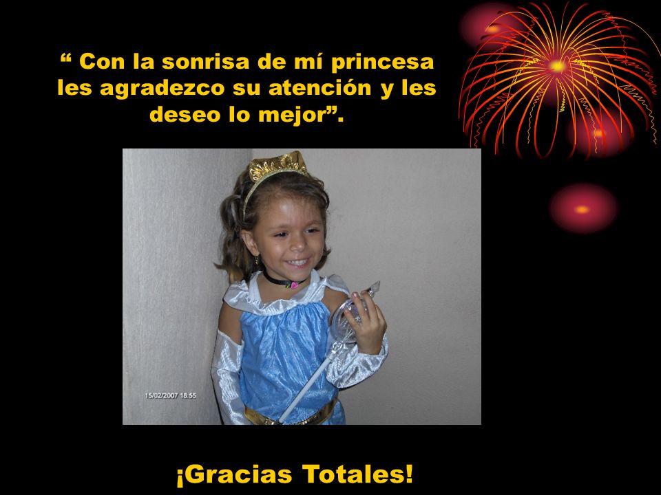 Con la sonrisa de mí princesa les agradezco su atención y les deseo lo mejor .