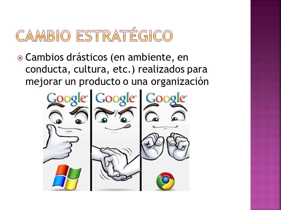 Cambio estratégico Cambios drásticos (en ambiente, en conducta, cultura, etc.) realizados para mejorar un producto o una organización.