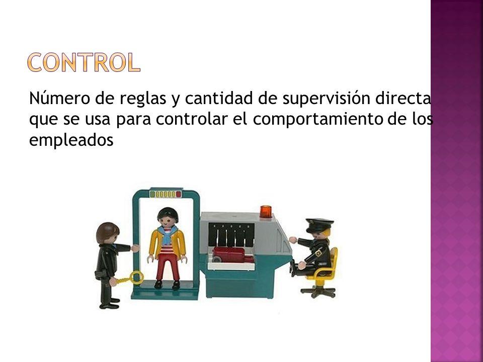 Control Número de reglas y cantidad de supervisión directa que se usa para controlar el comportamiento de los empleados.
