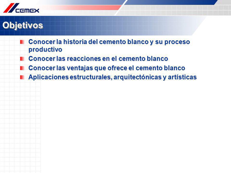 Objetivos Conocer la historia del cemento blanco y su proceso productivo. Conocer las reacciones en el cemento blanco.