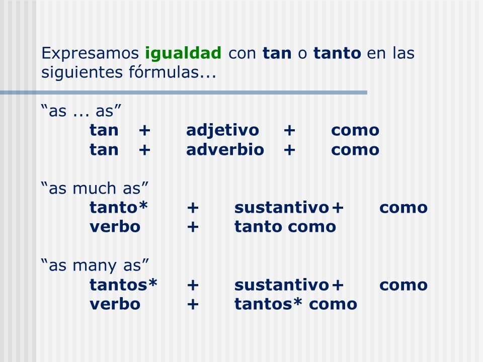 Expresamos igualdad con tan o tanto en las siguientes fórmulas...