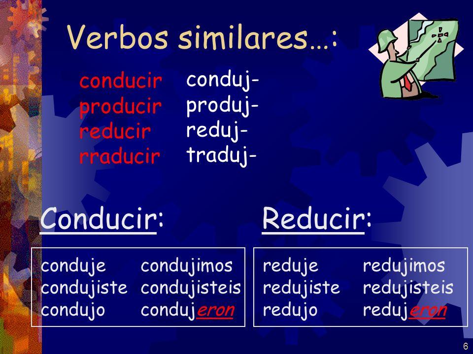 Verbos similares…: Conducir: Reducir: conduj- conducir produj-