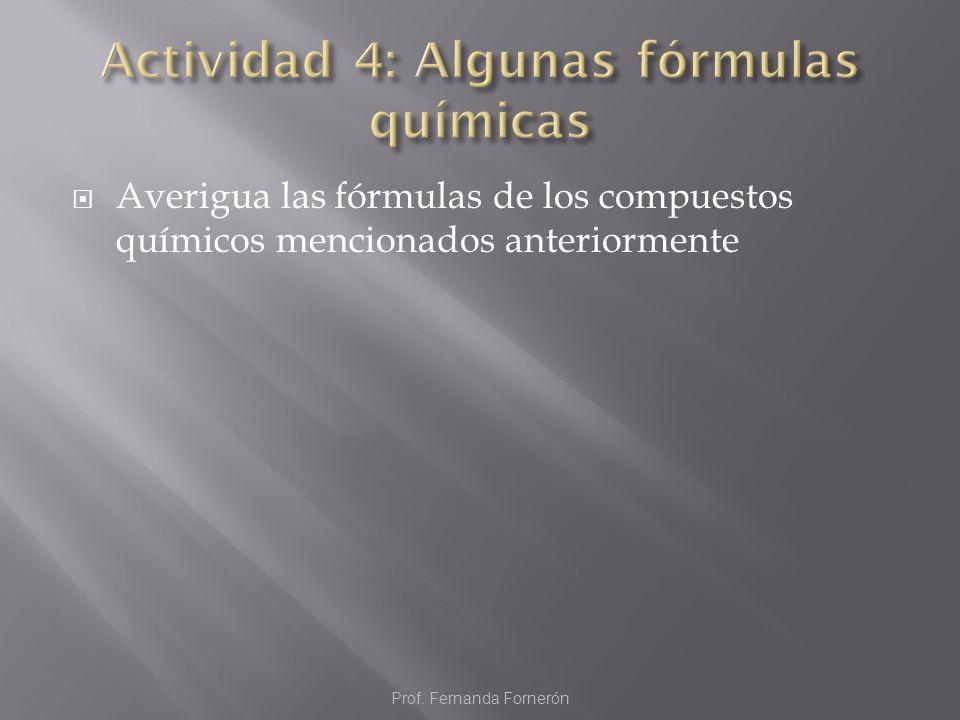Actividad 4: Algunas fórmulas químicas