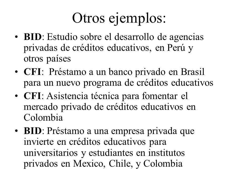 Otros ejemplos:BID: Estudio sobre el desarrollo de agencias privadas de créditos educativos, en Perú y otros países.