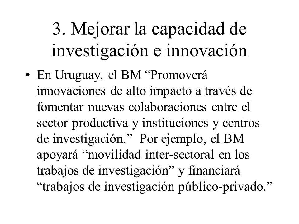 3. Mejorar la capacidad de investigación e innovación