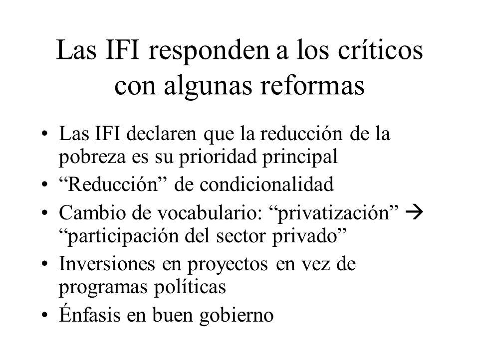 Las IFI responden a los críticos con algunas reformas